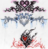 Three Tribal Hearts by BlackMageHadoken