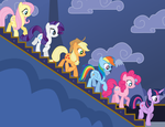 Mane 6 Walking Downstairs by TomFraggle