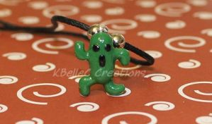 Polymer Clay Cactuar Necklace by KBelleC