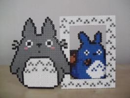 Totoro photo frame made of fuse beads by capricornc5
