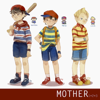 [MOTHER] 1+2+3 protags by Viridilly