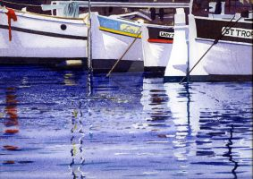 Reflections Traditional Fishing Boats St Tropez by thelastcelt