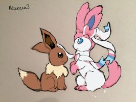 Sylveon and Eevee by ikbeneva2