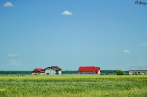 Houses on Romanian fields by Rikitza