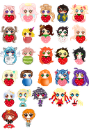 .: Standing/Strawberry icons [batch] :. by choli-adopts