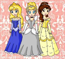 cinderella, aurora and belle by ninpeachlover