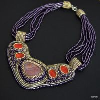 Agate and Coral Bead embroidered necklace by SashaSi