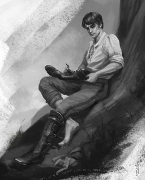 Cahir looking at his damaged boot by MiryAnne