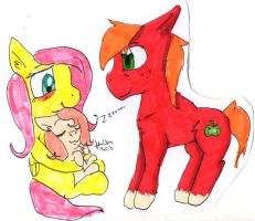 Big Macintosh, FlutterShy and baby Pink Lady by Hollsterweelskitty