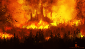 Burning Castle 2 by Aeflus