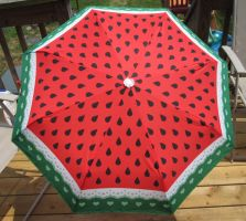 Watermelon and Lace Umbrella by egyptianruin