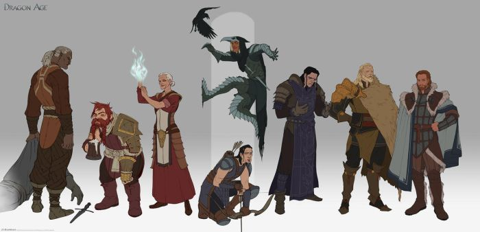 World of Thedas 2 - Some of the cast of DA:O by MattRhodesArt