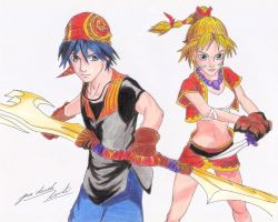 Serge and Kid (Chrono Cross - Color) by davidlatorre