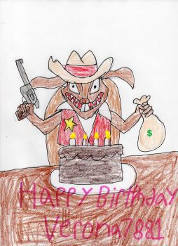 Sheriff Toothpick and cake by trexking45