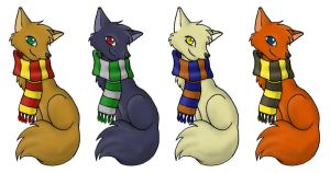 Harry Potter Scarf Foxes by ImaginaryFox