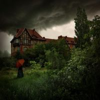 woman with red umbrella by Alcove