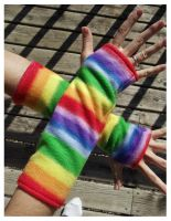 Rainbow Arm Warmers by Mermade4u