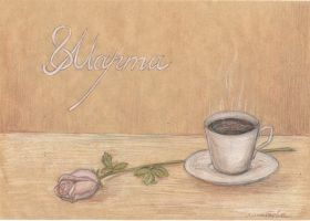 Postcard with a rose and a cup of coffee by AnastasiaMorning