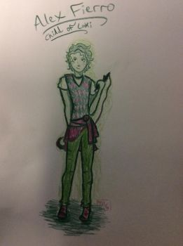 Alex Fierro (only green and pink colored pencil) by Rainintheearlymornin