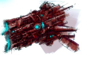 spaceship sketch by isshi