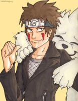 Kiba and Akamaru by IndyScribbable