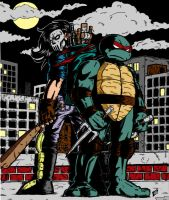 Raphael and Casey Jones by gadgetwk by Kenkira