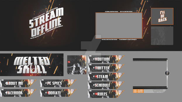 MeltedSkull Twitch Graphics Pack by WConman88