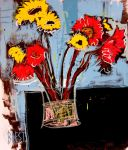 Red And Yellow Sunflowers by Jacobbrest