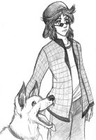 Skylar Bailey and his Dog by Amelius