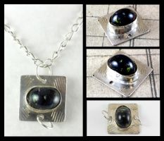 Silver Soldered Lampwork Cabochon Pendant Link by DryGulchJewelry