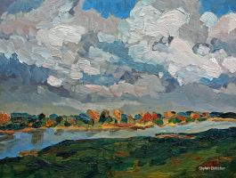 Clouds over the River Elbe by Art-deWhill