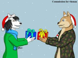COM : Vhenan and Littlewoof changing gift by whiteguardian