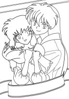 Kagome and InuYasha Lineart by ToAtoneArt