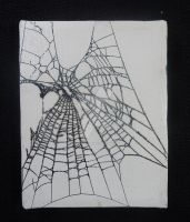Original Artwork Painted Spider Webs 4x5 Canvas by reginasuarez
