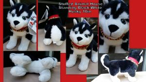 Stuffed Animal House Standing Black White Husky by Vesperwolfy87