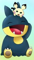 Munchlax and pichu in sai by Gaalea