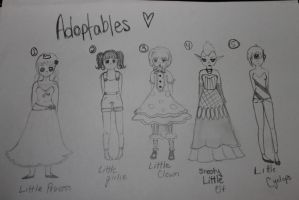 Adoptableses [OPEN] All five available! by xXxPorcelainxXx