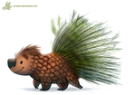 Daily Paint #1112. Porcu-Pine by Cryptid-Creations