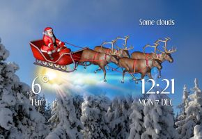 Santa Sleigh Weather Time for xwidget by Jimking