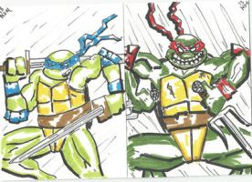 Leo and Raph sketch cards by kylemulsow