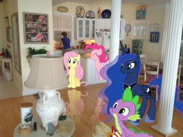Ponies watching Star Wars in Folly Cottage (pt. 2) by RedCard94