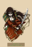 Samurai woman Tattoo-color by CopperAge