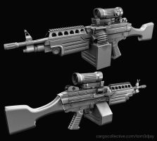 M249 LMG hi poly by Tom3dJay