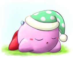 Sleeping Kirby by aquabluu
