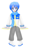 Vocaloid Kaito sitting transparent by MikariStar