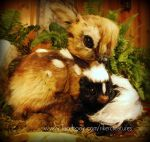 Lifesize Baby Skunk and Fawn - Poseable Creatures by Heiditruth
