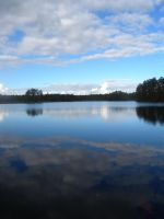 Reflections on Holsjon Lake by cleriksson