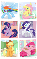 Weekly art#78 Mane Six by HowXu