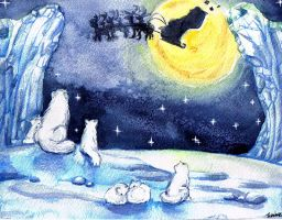 White foxes in Christmas night by Soji-chan