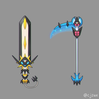 Ultra Solgaleo Sword and Ultra Lunala Scythe